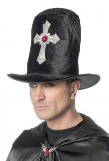 Dracula-Hut Vampir-Hut Herren Kopfbedeckung Dracula mit Kreuz Vampir-Zylinder