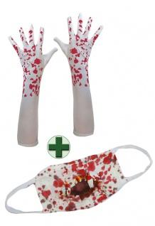 Handschuhe mit Blut Mundschutz blutig Zombie Horror KK