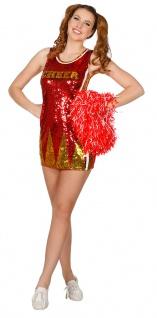 Cheerleader Kostüm Damen Pailletten Cheerleading Uniform rot gold Fasching KK