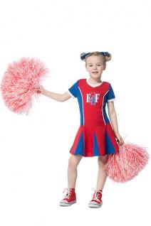 Cheerleader Kostüm Kinder blau rot weiß Mädchen Karneval Fasching KK