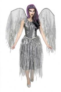 Schwarzer Engel Damen-Kostüm Halloween Todes Engel grau mit Flügel KK