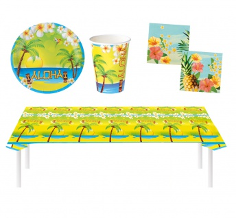 Party Set Hawaii Sommer Aloha 29 Teile Teller, Becher, Servietten, Tischdecke