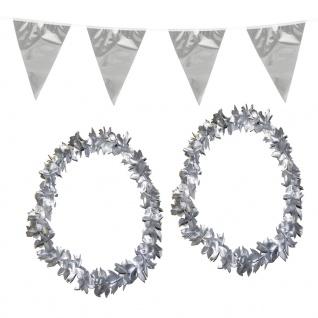 Silberne Hochzeit Party Set XL : Wimpelkette, 2 silberne Ketten
