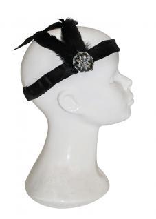 Haarband Charleston schwarz mit Feder Haarschmuck Charleston 20er 30er Jahre KK