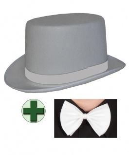 Zylinder-Hut Herren weiß mit Fliege weiß für Erwachsene Silvester-Hut Karneval K