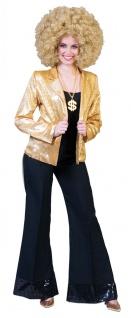 Pailletten Jacke Damen gold Disco Kostüm Party Fasching Karneval KK