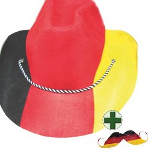 Hut Deutschland Cowboy-Hut Fan-Artikel mit Schnurrbart EM WM Fußball 2021 KK