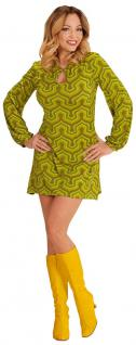 Hippie Kostum Damen 70er Jahre Retro Kostüm grün Damenkostüm Fasching Karneval K