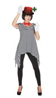 Horror Killer Clown Kostüm Damen MIT blutigem Hut Pierrot Halloweenkostüm KK