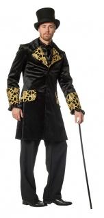 Herren Frack schwarz gold Jacke Luxus Steampunk Herrenkostüm Fasching Karneval K