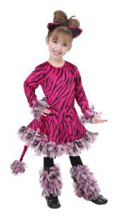 Tiger Kostüm Kinder Tiger-Kleid Ohren Schwanz Mädchen pink Tier-Kinder-Kostüm KK