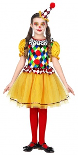 Clown Kostüm Kinder Mädchen Clownskleid mit Tutu Clownhut Karneval Fasching KK