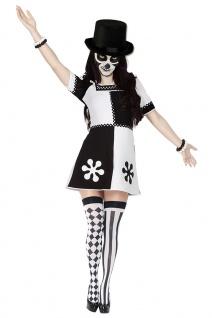 Horror Clown Kostüm Damen Pierrot Narre schwarz weiß KK