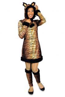 Tiger Kostüm Damen Tiger-Kleid Kapuze mit Ohren Stulpen Tier-Kostüm Damen-Kostüm