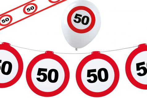 Dekoset Geburtstag Party 50 Jahre Verkehrsschild