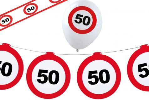 Geburtstag-s Party Set Dekoset Dekoration 50 Jahre Girlanden Ballons Absperrband