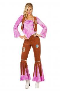 Hippie Kostüm Flower Power 60 70er Jahre Hose Oberteil braun lila Damen KK