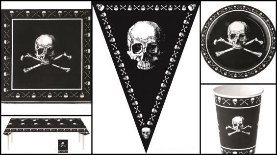Set Kindergeburtstag Pirat XL inkl. Girlande 38 Teile schwarz mit Totenköpfen