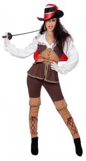 Musketier Kostüm Damen mit Spitzkragen Mittelalter Damenkostüm Fasching KK