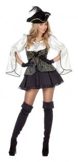 Piratenkostüm Damen sexy Piratenkleid Piratin grau schwarz Karneval Fasching KK