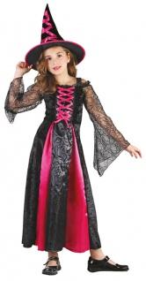Hexenkostüm für Kinder Hexe Mädchen Kostüm pink schwarz Halloween Hexenhut KK