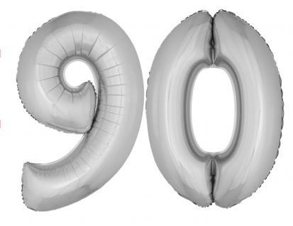 Folienballons Luftballon-SetXXL Zahl Geburtstag 90 Jahre silber Party Dekoration