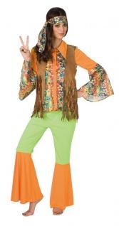 Flower Power Kostüm Damen orange bunt Woodstock Hippie Fasching Karneval KK