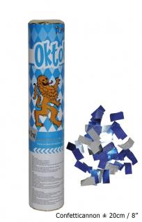 Konfetti Kanone Party Popper Shooter Oktoberfest Feier blau weiß 2 Stück KK
