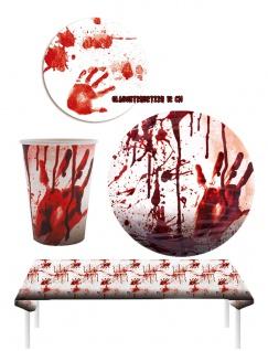 Halloween Party Tischdeko Set Blutig mit Tischdecke KK