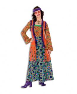 Flower Power Kostüm Damen Hippiekleid Hippieweste Retro 60er 70er Jahre Karneval
