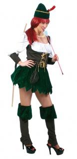 Robin Hood Kostüm Damen Mittelalter Komplettkostüm mit Hut Bogenschützin KK
