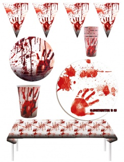 Halloween Party Dekoration Set Blut blutige Tischdeko Wimpelkette KK