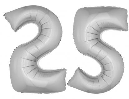Folienballon Zahl Luftballon XXL silberne Hochzeit 25 Jahre Jubiläum Party Deko