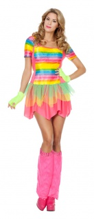 Disco Kostüm Damen 80er Jahre Disco Fever Kleid bunt Regenbogen Diva Damenkostüm