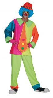 Kostüm Clown Herren neon-bunt Clownkostüm Herrenkostüm Zirkus Narr Fasching KK