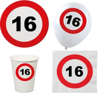 Geburtstags Party Set Deko 16 Jahre Geburtstag Partygeschirr Luftballon 44 Tlg.