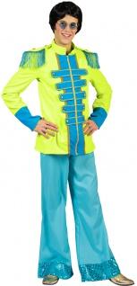 Sergeant Pepper Kostüm Herren Beatles Jacke neon grün blau Popstar Herren-Kostüm