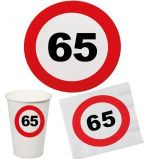Party Set 32 Teile Geburtstag 65 Jahre Verkehrsschild