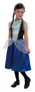Prinzessin Kostüm Anna Kleid Mädchen blau Fasching Karneval KK