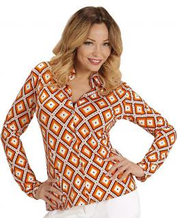 70er Jahre Kostüm Retro Bluse Hippie Hemd Damen orange kariert Damen-Kostüm KK