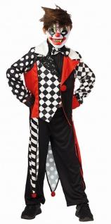 Horror Clown Kostüm Jungen Pierrot schwarz weiß rot Halloween KK