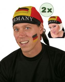 Kopftuch Deutschland Fan Bandana EM WM Fußball schwarz rot gold 2 Stück KK