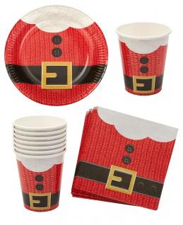 Geschirr Weihnachten Pappteller Pappbecher Servietten Party Weihnachtsfeier 32 T