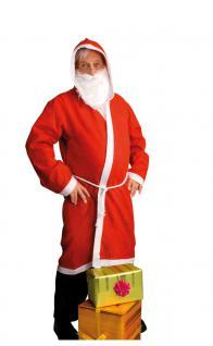 Weihnachtsmannkostüm Weihnachtsmannmantel mit Kapuze Herren Nikolaus Bart 3 Tlg.
