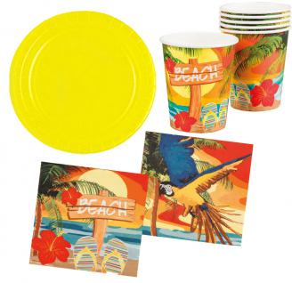Party Set Hawaii Beach Ara gelb 26 Teile : Teller, Becher, Servietten