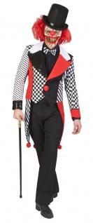 Horror Clown Kostüm Harlekin Killerclown Herren Halloween Narren Overall KK