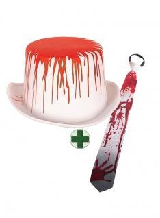 Zylinder weiß Blut mit blutige Krawatte Halloween-Hut KK