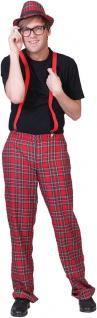 Schüler Kostüm Herren rot karierte Hose Nerd Streber Outfit Fasching Karneval KK