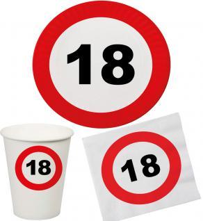 Party Set 32 Teile Geburtstag 18 Jahre Verkehrsschild - Vorschau