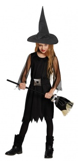 Hexenkostüm Kinder Hexe Mädchen Kostüm schwarz Halloween Mädchenkostüm KK
